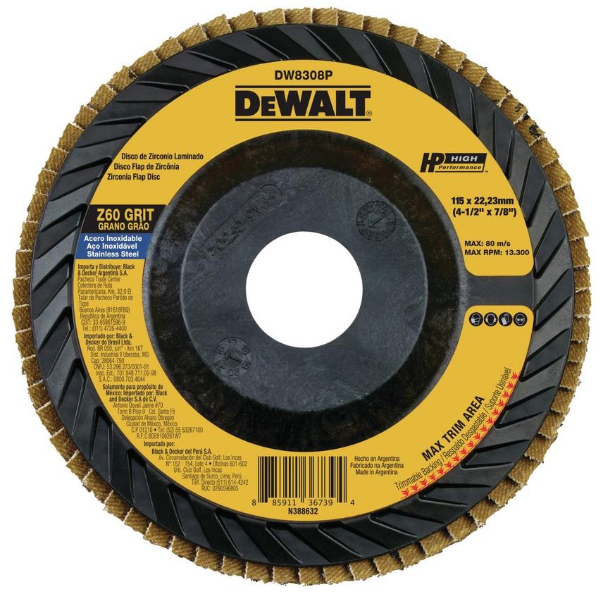 """Disco Flap de Plástico 4.1/2"""" GR 60 Dewalt 3455.55020"""