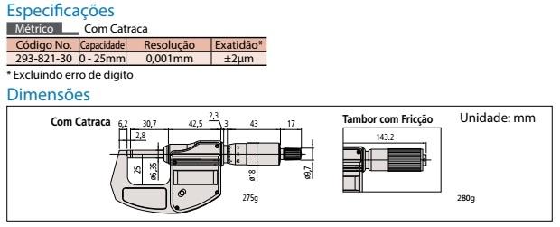 Micrômetro Externo Digital Lite 0-25mm 293-821-30 Mitutoyo 6410.10050