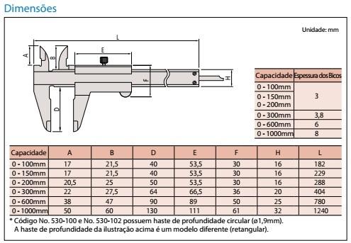 Paquímetro 300mm 0,02mm 530-119 Mitutoyo 6820.20005