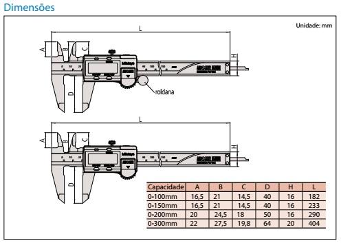 Paquímetro Digital Absolute 200mm 0,01mm 500-197-30B Mitutoyo 6810.15010